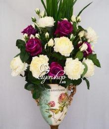 Hoa lụa, hoa giả Uyên shop, Bình hoa Mẫu Đơn sang trọng