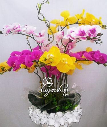 Hoa lụa, hoa giả Uyên shop, Chậu Hoa Lan