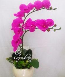 Hoa lụa, hoa giả Uyên shop, Chậu Lan Tím nhỏ