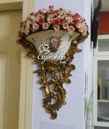 Hoa lụa, hoa giả Uyên shop, Giỏ treo tường phong cách Châu Âu