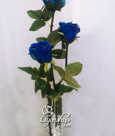 Hoa lụa, hoa giả Uyên shop, Hoa hồng xanh để bàn