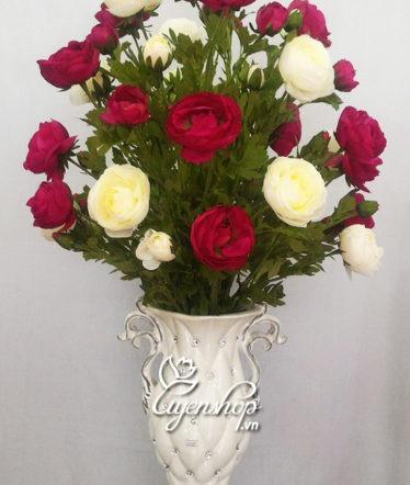 Hoa lụa, hoa giả Uyên shop, Bình hoa trà