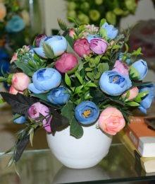 Hoa lụa, hoa giả Uyên shop, Hoa trà xanh tím hồng