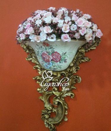 Hoa lụa, hoa giả Uyên shop, Giỏ hoa treo tường phong cách Châu Âu