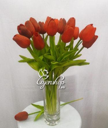Hoa lụa, hoa giả Uyên shop, Hoa tulip đỏ