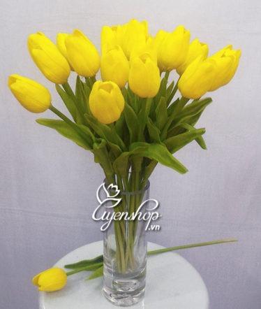 Hoa lụa, hoa giả Uyên shop, Bình hoa tulip vàng nhỏ