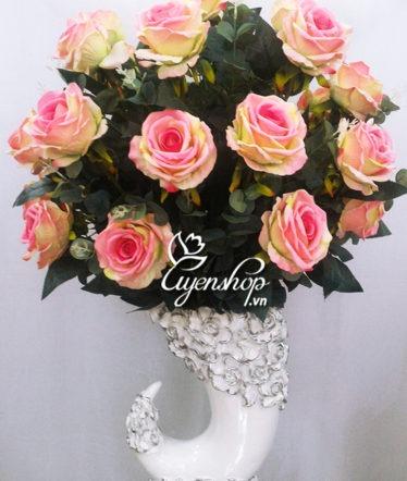 Hoa lụa, hoa giả Uyên shop, Bình hoa Hồng dáng ngà voi
