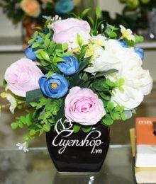 Hoa lụa, hoa giả Uyên shop, Lọ hoa để bàn
