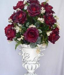 Hoa lụa, hoa giả Uyên shop, Bình hồng tím cao cấp