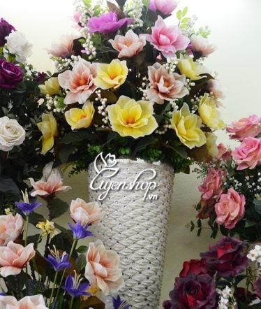 Hoa lụa, hoa giả Uyên shop, Bình hoa lớn đại sảnh