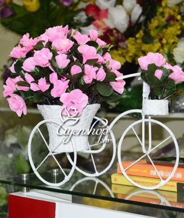 Hoa lụa, hoa giả Uyên shop, Xe đạp hoa Đỗ Quyên