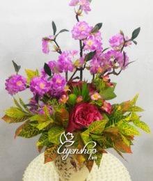 Hoa lụa, hoa giả Uyên shop, Bình hoa Anh đào lọ composite