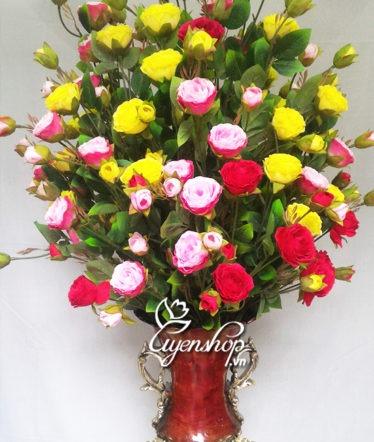 Hoa lụa, hoa giả Uyên shop, Bình hoa Lan tường