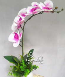 Hoa lụa, hoa giả Uyên shop, Chậu Lan Hồ điệp nhỏ
