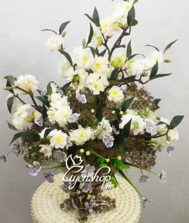 Hoa lụa, hoa giả Uyên shop, Bình hoa anh đào trắng