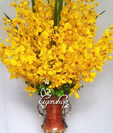 Hoa lụa, hoa giả Uyên shop, Bình hoa Lan Vũ Nữ