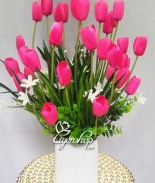 Hoa lụa, hoa giả Uyên shop, Bình hoa Tulip hồng