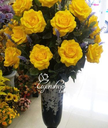 Hoa lụa, hoa giả Uyên shop, Bình Hồng Ý cao cấp