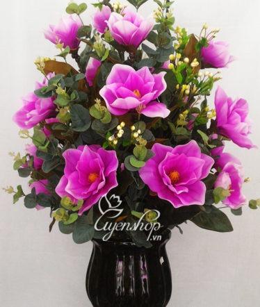 Hoa lụa, hoa giả Uyên shop, Bình hoa Mộc Lan tím