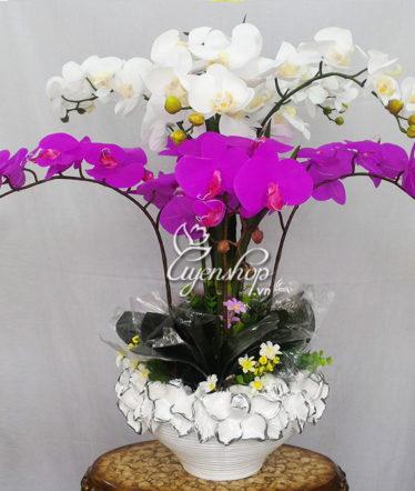 Hoa lụa, hoa giả Uyên shop, Chậu Lan Hồ Điệp trắng tím