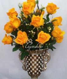 Hoa lụa, hoa giả Uyên shop, Bình hồng cam cao cấp