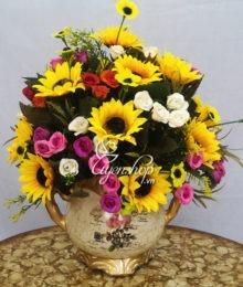 Hoa lụa, hoa giả Uyên shop, Lọ hoa hướng dương