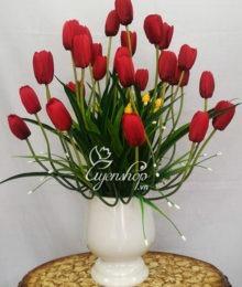 Hoa lụa, hoa giả Uyên shop, Bình hoa Tulip đỏ