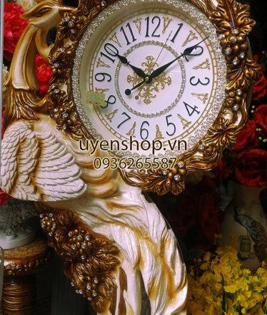 Hoa lụa, hoa giả Uyên shop, Đồng hồ Chim công sang trọng