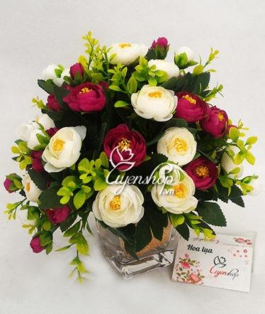 Hoa lụa, hoa giả Uyên shop, Lọ thủy tinh hoa trà