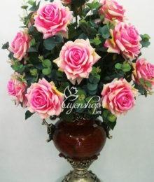 Hoa lụa, hoa giả Uyên shop, Bình Hồng nở