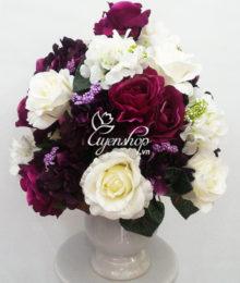 Hoa lụa, hoa giả Uyên shop, Bình hồng tú cầu