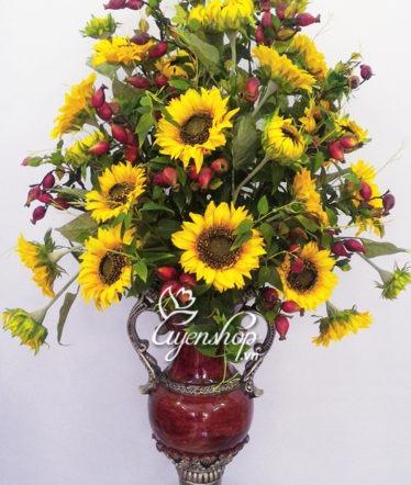 Hoa lụa, hoa giả Uyên shop, Bình hoa Hướng Dương lớn