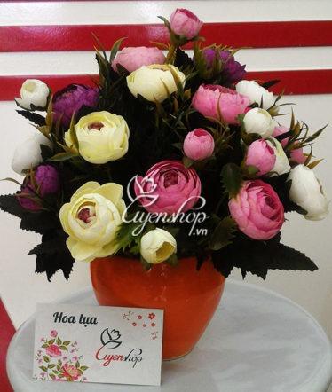 Hoa lụa, hoa giả Uyên shop, Lọ Hoa Trà trắng tím