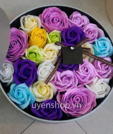Hoa lụa, hoa giả Uyên shop, Hộp Hoa Hồng Tím
