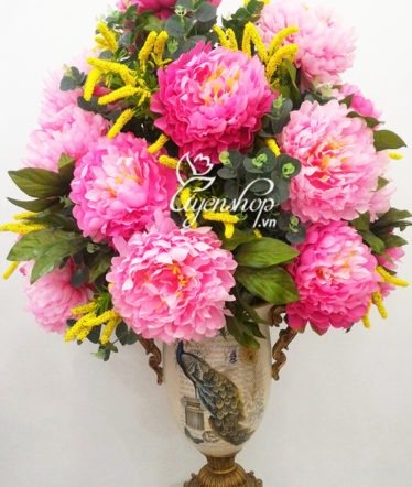 Hoa lụa, hoa giả Uyên shop, Bình hoa Mẫu Đơn Vương
