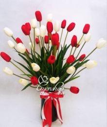 Hoa lụa, hoa giả Uyên shop, Rực rỡ cùng Tulip màu trắng đỏ