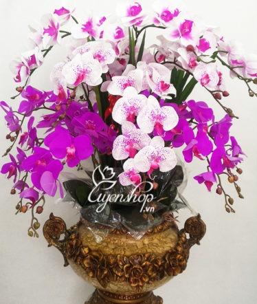 Hoa lụa, hoa giả Uyên shop, Chậu Lan sang trọng