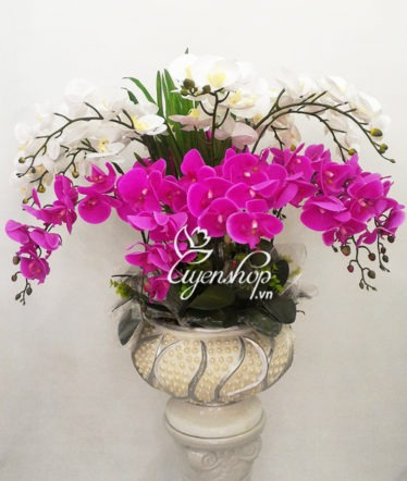 Hoa lụa, hoa giả Uyên shop, Chậu Lan trắng tím lớn