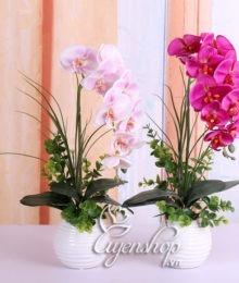 Hoa lụa, hoa giả Uyên shop, Chậu Lan nhỏ