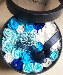 Hoa lụa, hoa giả Uyên shop, Hộp hoa hồng xanh