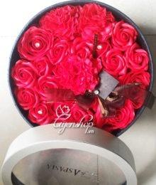 Hoa lụa, hoa giả Uyên shop, Hộp hồng đỏ