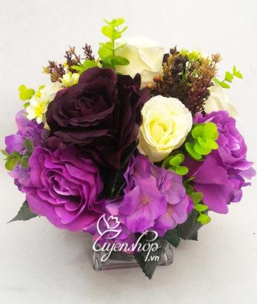 Hoa lụa, hoa giả Uyên shop, Lọ hoa hồng tím thủy tinh
