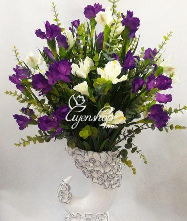 Hoa lụa, hoa giả Uyên shop, Bình Hoa Dáng Ngà voi