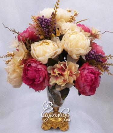 Hoa lụa, hoa giả Uyên shop, Bình hoa Hồng Ren