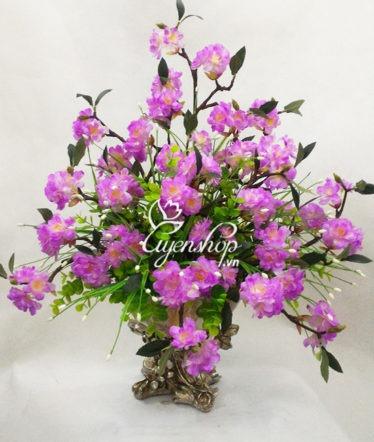 Hoa lụa, hoa giả Uyên shop, Bình hoa Anh đào tím