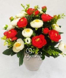 Hoa lụa, hoa giả Uyên shop, Lọ hoa trà đỏ
