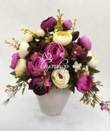 Hoa lụa, hoa giả Uyên shop, Bình hoa Trà trắng tím