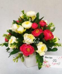 Hoa lụa, hoa giả Uyên shop, Hoa trà trắng đỏ