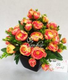 Hoa lụa, hoa giả Uyên shop, Binh hoa trà màu cam