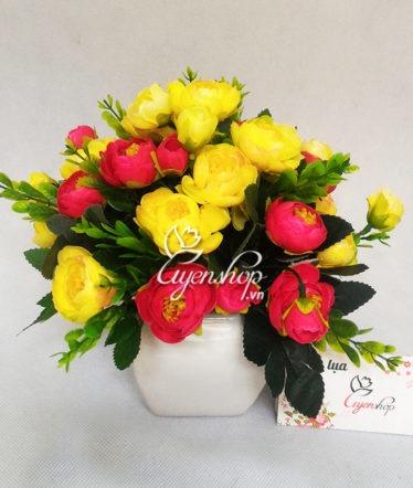 Hoa lụa, hoa giả Uyên shop, Lọ hoa trà xinh